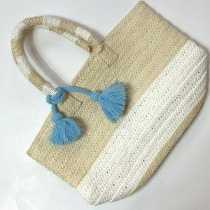 ALTRU 100% paper straw tote blue pom Pom